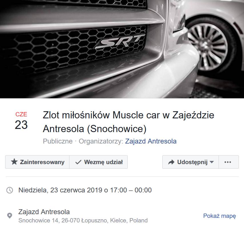Zlot miłośników Muscle car w Zajeździe Antresola (Snochowice)